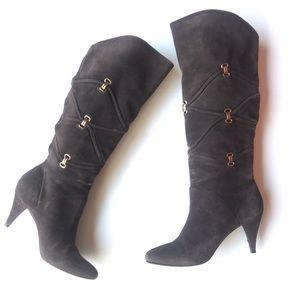 Antonio Melanie Tall Brown Suede Boots Heeled 7 M